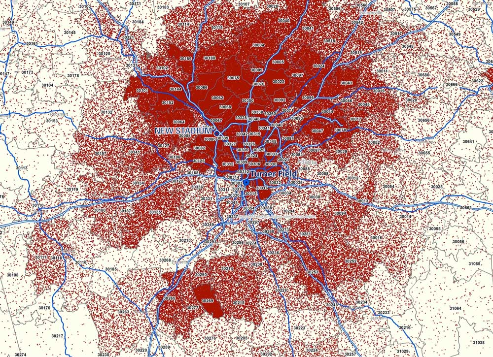 Atlanta Braves ticket sales map.